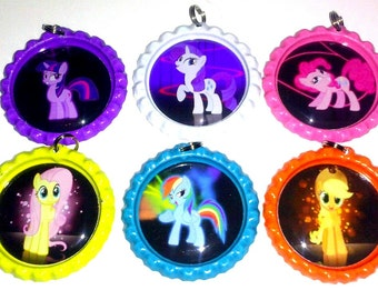 bottle cap necklace my little pony party favor set