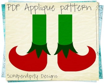 Elf Shoes Applique Pattern -  Christmas Applique Template / Elf Shoes Quilt Pattern / Christmas Fabric Applique Shirt / Kids PDF DIY AP276-D
