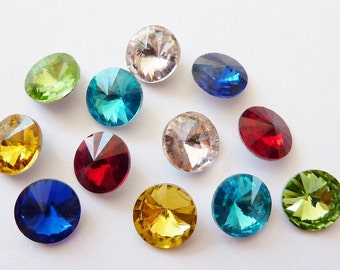 12 glass jewels, Ø8mm SS39, rivoli color mix, round