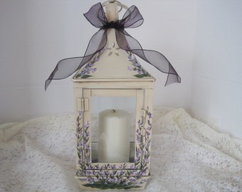 Lavender Fields Hand painted Antiqued Candle Lantern