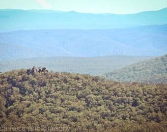 Blue Mountains Australia Art Print Katoomba Photography Dreamy Shades of Blue Home Decor Nature Landscape Mountaintop Art Print Abstract