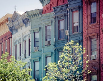 Brownstone Row House Architecture Art Print Photograph Hoboken New Jersey Photography Rustic Modern Industrial Home Decor Blue Red