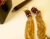 Beaded Tassel Earrings, Gold Chain Tassels, Dangle Tassel Earrings, Red Earrings, Statement Earrings