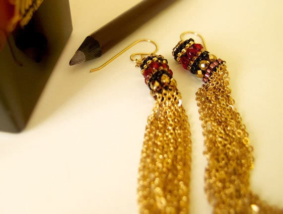 Beaded Tassel Earrings, Gold Chain Tassels, Dangle Tassel Earrings, Red Earrings, Statement Earrings
