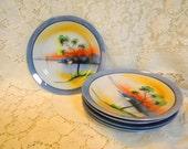 Noritake Chicaramachi lustreware whale plates set of six 1928 to 1946 vintage