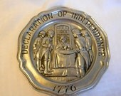 Sexton Pewter Declaration of Independence plate Great Moments in American History Collection 1973
