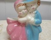 American Bisque Dancing Couple planter mid century vintage American pottery