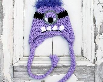 Purple Minion Inspired Earflap Hat