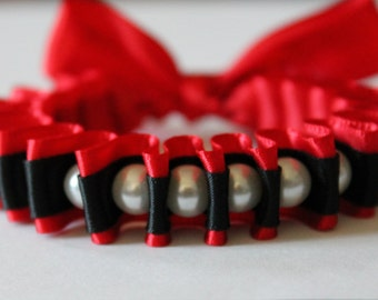 White Pearl with Black and Red Ribbon Bella Bracelet