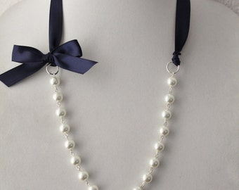 White Pearl and Navy Blue Ribbon Bow Necklace