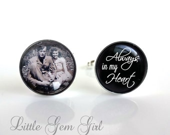 Memorial Photo Cuff Links - In Memory Custom Picture Cufflinks Always in my Heart - Wedding Gift for Groom- Sterling Silver and Stainless