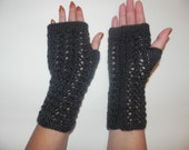Arm warmers, fingerless gloves, arm cuffs in charcoal color, hand knitted,Christmas gift