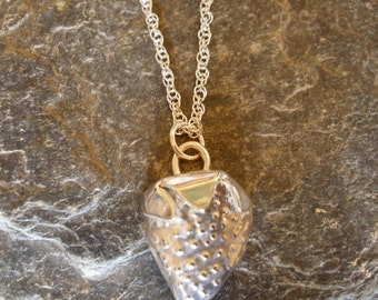 Sterling Silver Strawberry Pips Pendant, Handformed, textured and polished (with or without silver chain)