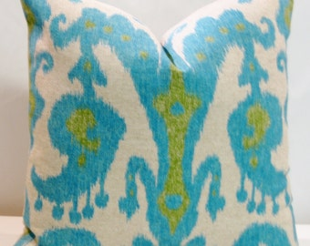 BOTH SIDES 18 x 18 Ikat throw pillow cover Lacefield Marrakesh Lagoon Blue Turquoise Lime Green Ikat