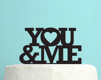 Wedding Cake Topper - You and Me cake topper - Soulmates & Hearts - Unique Wedding Cake Topper - By Peachwik - CT14