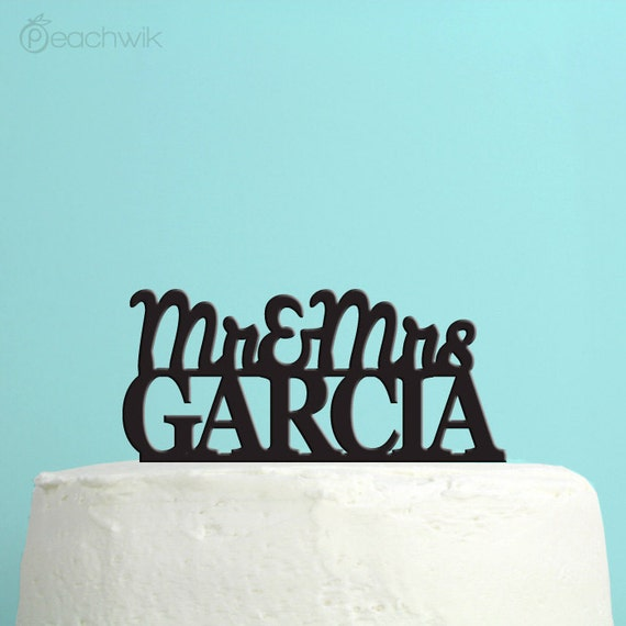 Wedding Cake Topper - Personalized fancy script Cake Topper - Unique Custom Last Name Wedding Cake Topper - Peachwik Cake Topper - PT9
