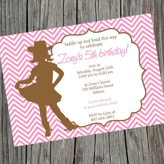 Cowgirl Birthday Invitation Cowgirl Baby Shower Invite Cowgirl