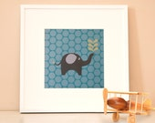 Modern Children's Paper Wall Art - Elephant Squirting Water or Personalized - 12 x 12 - Teal Blue and Grey or Custom Color