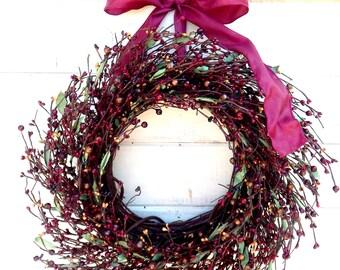 Winter Wreath-Winter Door Decor-Rustic Home Decor-CRANBERRY BURGUNDY Door Wreath-Housewarming Gift-Scented Wreath-Fall Door Wreath-Gifts