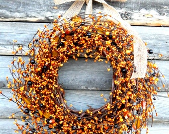 Fall Wreath-Fall Decor-Halloween Wreath-Holiday Wreath-FALL CANDY CORN Door Wreath-Autumn Decor-Home Decor-Custom Choose Scent and Ribbon