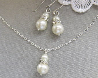 bridesmaid necklace earring set, rhinestone necklaces bridesmaid gifts wedding pearl jewelry - W004 white ivory pearl custom
