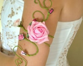 Upper arm cuff delightful and delicate Pink roses and buds with green vine wedding accessories Prom Dance festival
