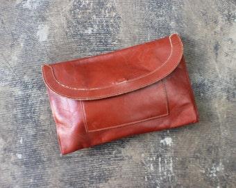 1970's Leather Envelope Clutch / Vintage Rich Brown Handbag / Purse