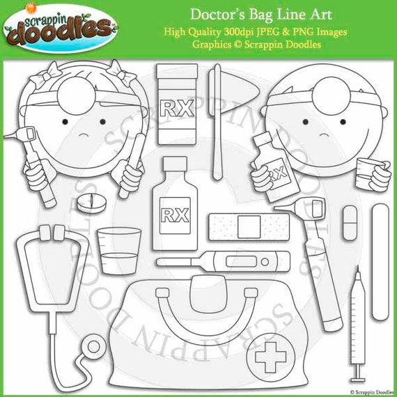 Doctor 39 s bag line art for Doctor bag craft template