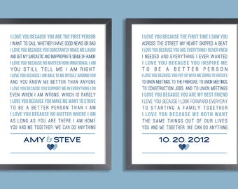 Personalized Wedding Vows, Keepsake Print Set of two prints (song lyrics, poem, vows ) Wedding gift, 1st Anniversary, Custom colors