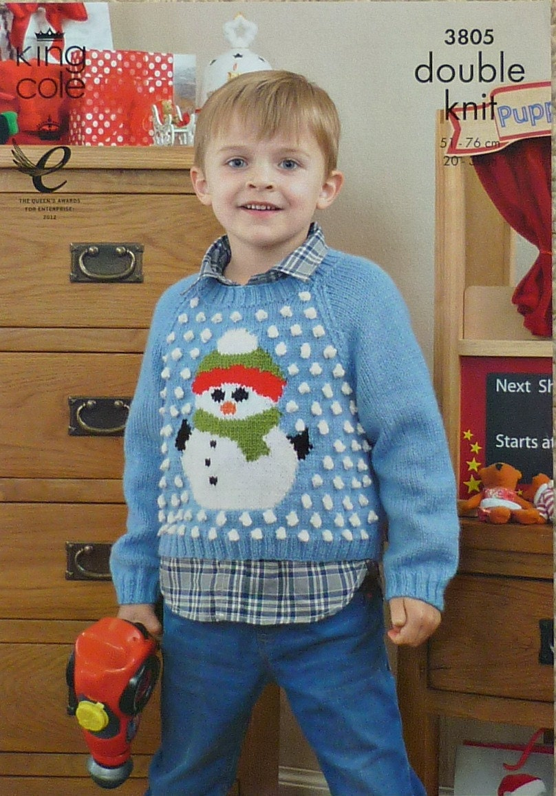 Childrens Knitting Pattern K3805 Childrens Long Sleeve Jumper Christmas Snowm...