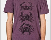 Men's Tee 3 Crabs t shirt Women's Unisex American Apparel tshirt 8 Colors  XS, S, M, L, XL