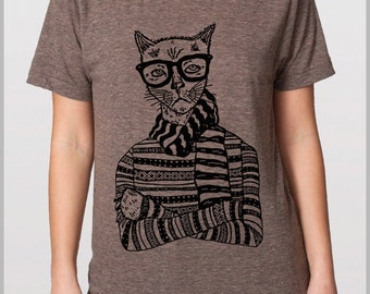 Hipster Cat - Unisex Men's Women's  T shirt - American Apparel Tee Tshirt  9 COLORS Full Spectrum Apparel