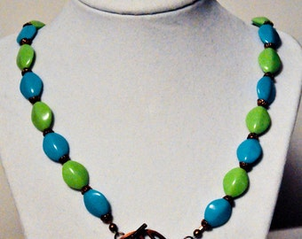 Spring Summery Lime Green, Turquoise Blue and Coppery Necklace