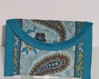 Business Card Case - Brown Paisley Print on Teal