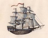 "Ship   ""Set Sail""   Watercolor   Archival Print 7"" x 7"""