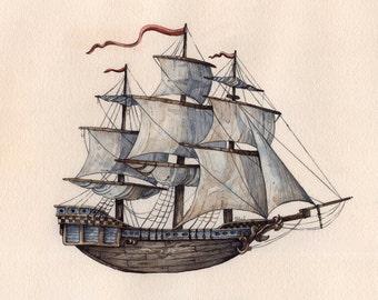 "Ship | ""Set Sail"" | Watercolor | Archival Print 7"" x 7"""