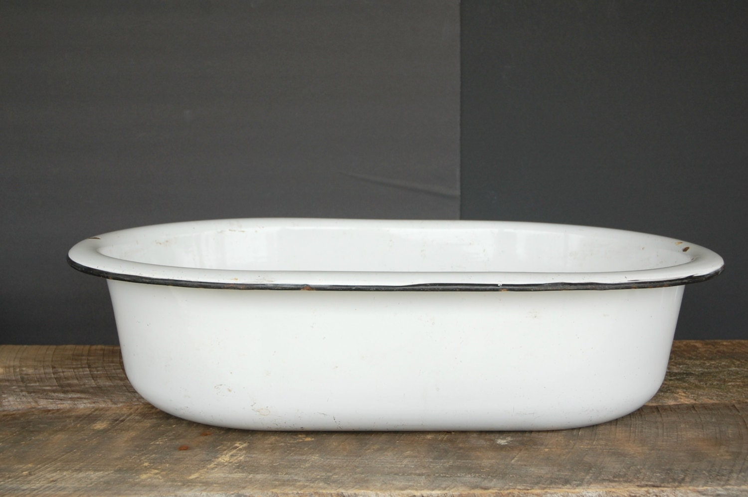 Large Wash Tub : Reserved for M Vintage Wash Tub White Enamelware Black Trim