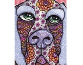 Original ACEO Dog, Pen and Ink Psychedelic Purple Hound