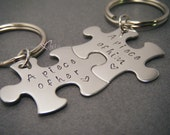 A piece of Him, A piece of her, Couples Keychains, Puzzle Piece Keychains, Anniversary Gift, Stamped Keychains for couples, Birthday gift