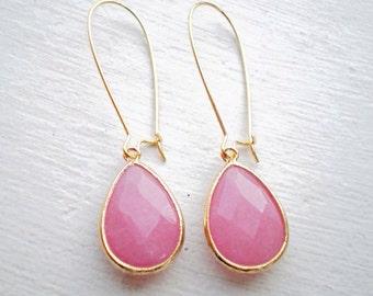 Beautiful Pink Jade Teardrop Earrings/Pink Earrings/Jade earrings/Teardrop Earrings