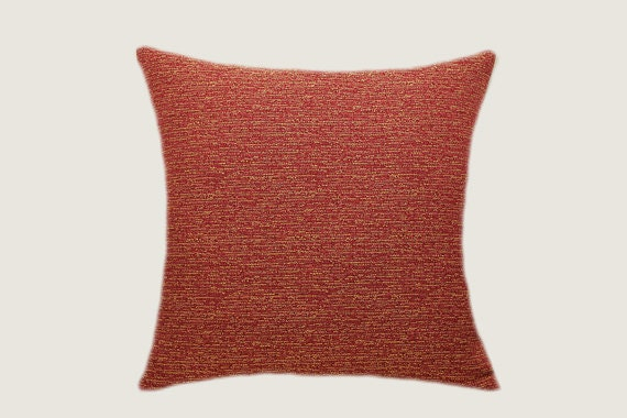 Red yellow decorative textured fabric throw pillow cover fits - Fabric for throw pillows ...
