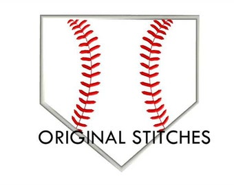 Home Plate Baseball Applique Machine Embroidery Digital Design File  4x4 5x7 6x10 7x11
