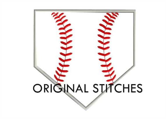 Home Plate Baseball Applique Machine Embroidery Digital Design