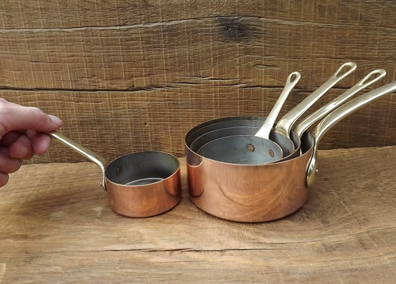Set Of Five Small Copper Pots Pans From France By Maisonmaudie