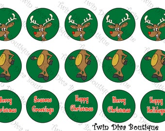 Rudolf Ornament - 1 inch image sheets for bottle caps - perfect for Christmas decorations