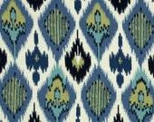 Two 26 x 26 Designer Decorative Pillow Covers in 100% Cotton - Ikat - Blue/Black/Citrine