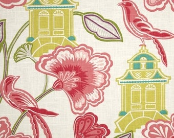"""Two  96"""" x 50""""  Custom  Lined Curtain Panels - Braemore - Emperor's Garden"""