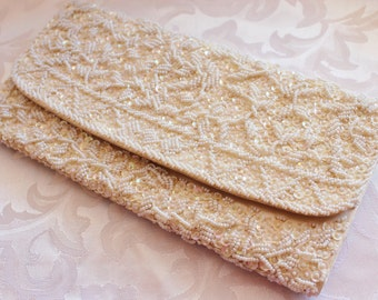 White Beaded Vintage Klines Clutch