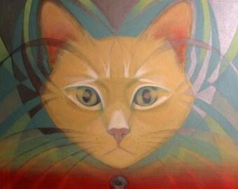 Soraneko - Psychedelic Cat Original Painting - Wall Art.