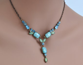 Beautiful Blue Victorian Style Necklace with Rhinestones